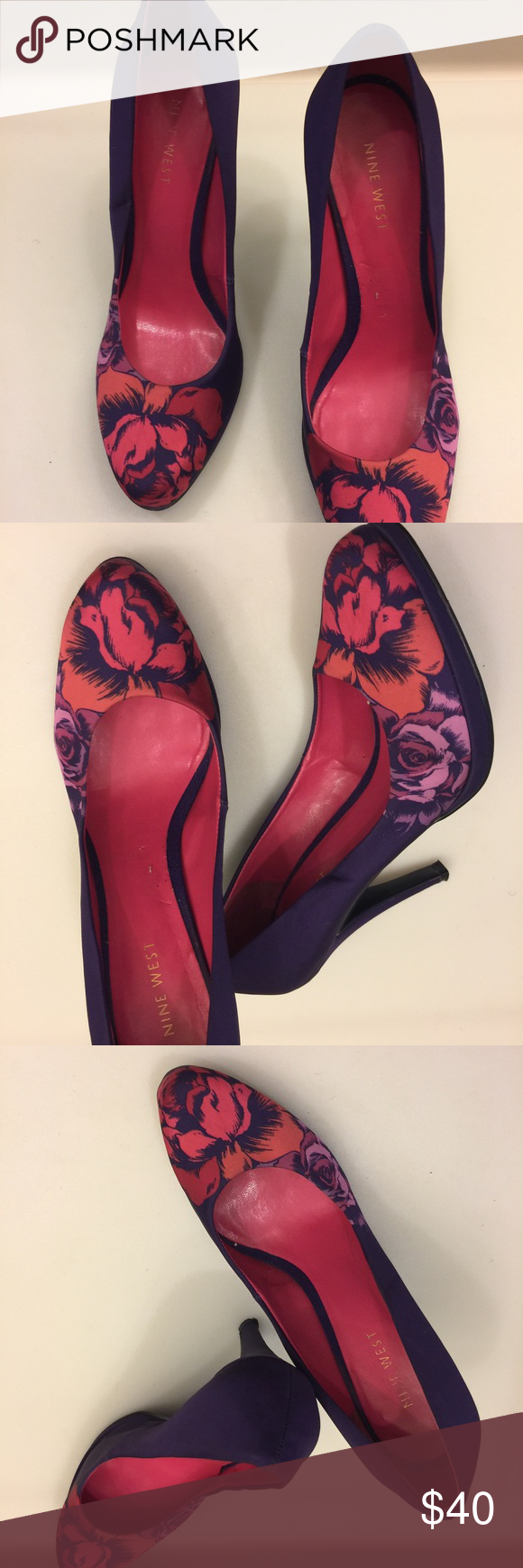 """Nine West Purple Floral Pumps Nine West fabric purple Floral Pumps in excellent preowned condition. These pumps show sign of wear, please take a look👀 at the pictures before purchasing. Size::6.5  Color:Purple/pink/orange and Lilac  Heel:4"""" Nine West Shoes Heels"""