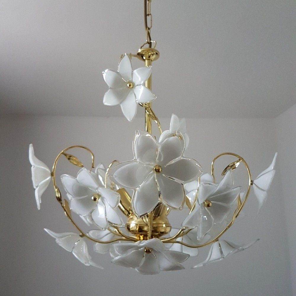 Gold plated chandelier with white murano glass flowers 1980s gold plated chandelier with white murano glass flowers 1980s aloadofball Choice Image