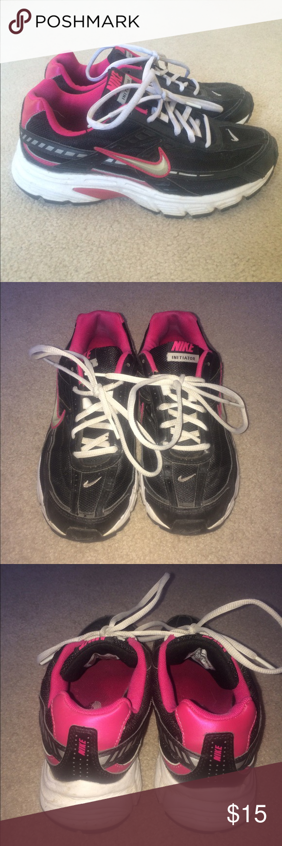 Black & pink nikes Used nikes great condition Nike Shoes Athletic Shoes