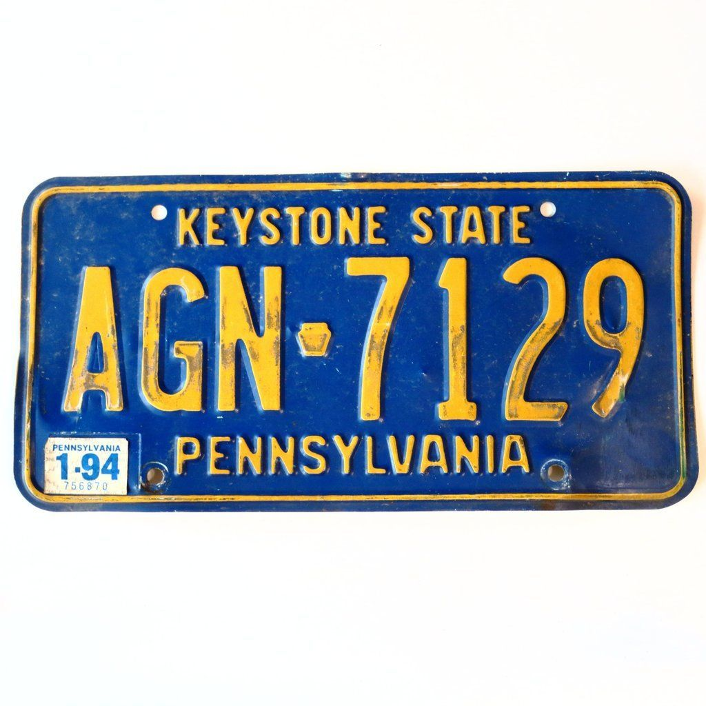 1994 Pennsylvania Keystone State License Plate AGN7129 in