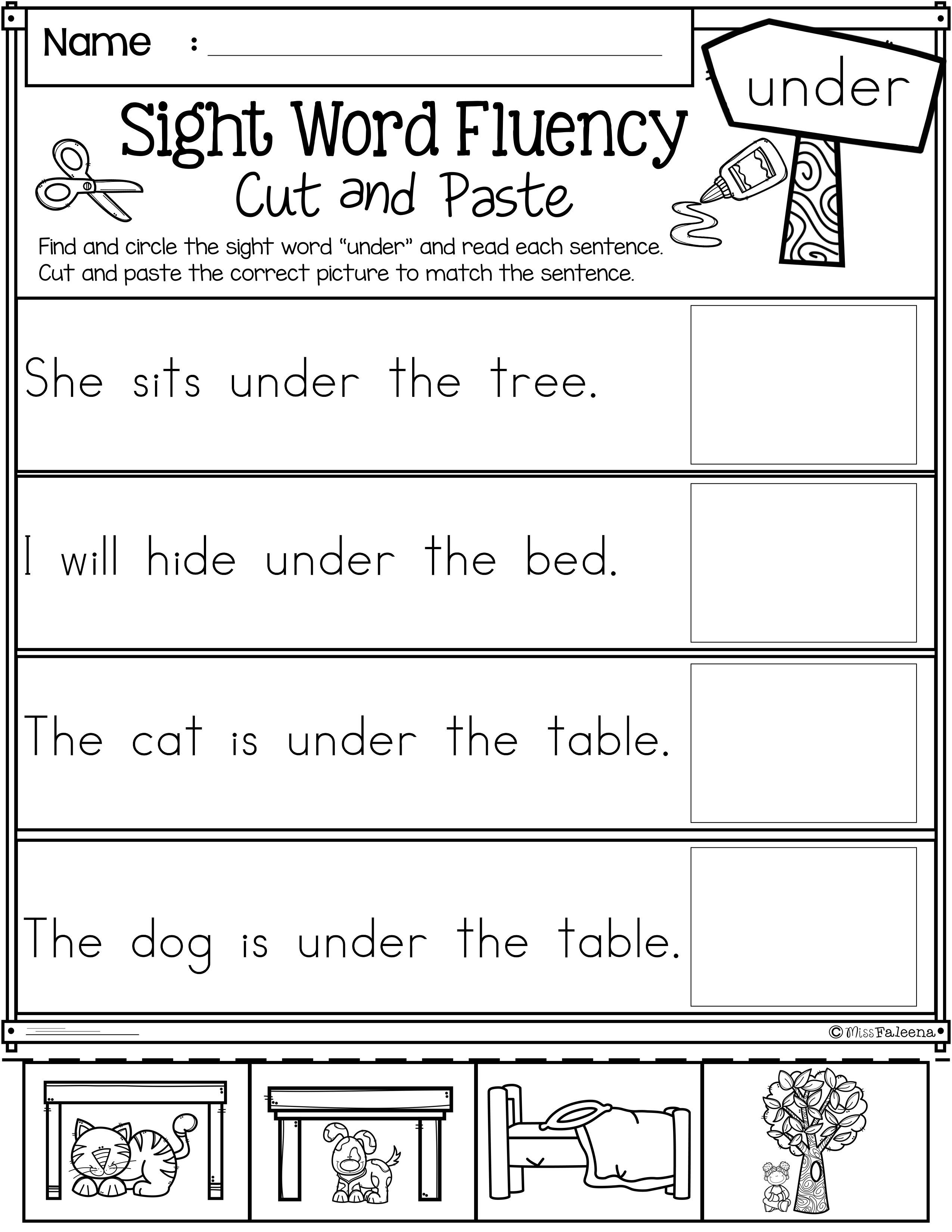 Sight Word Fluency Cut and Paste Primer