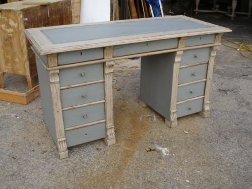 antique painted Swedish desk blue and white