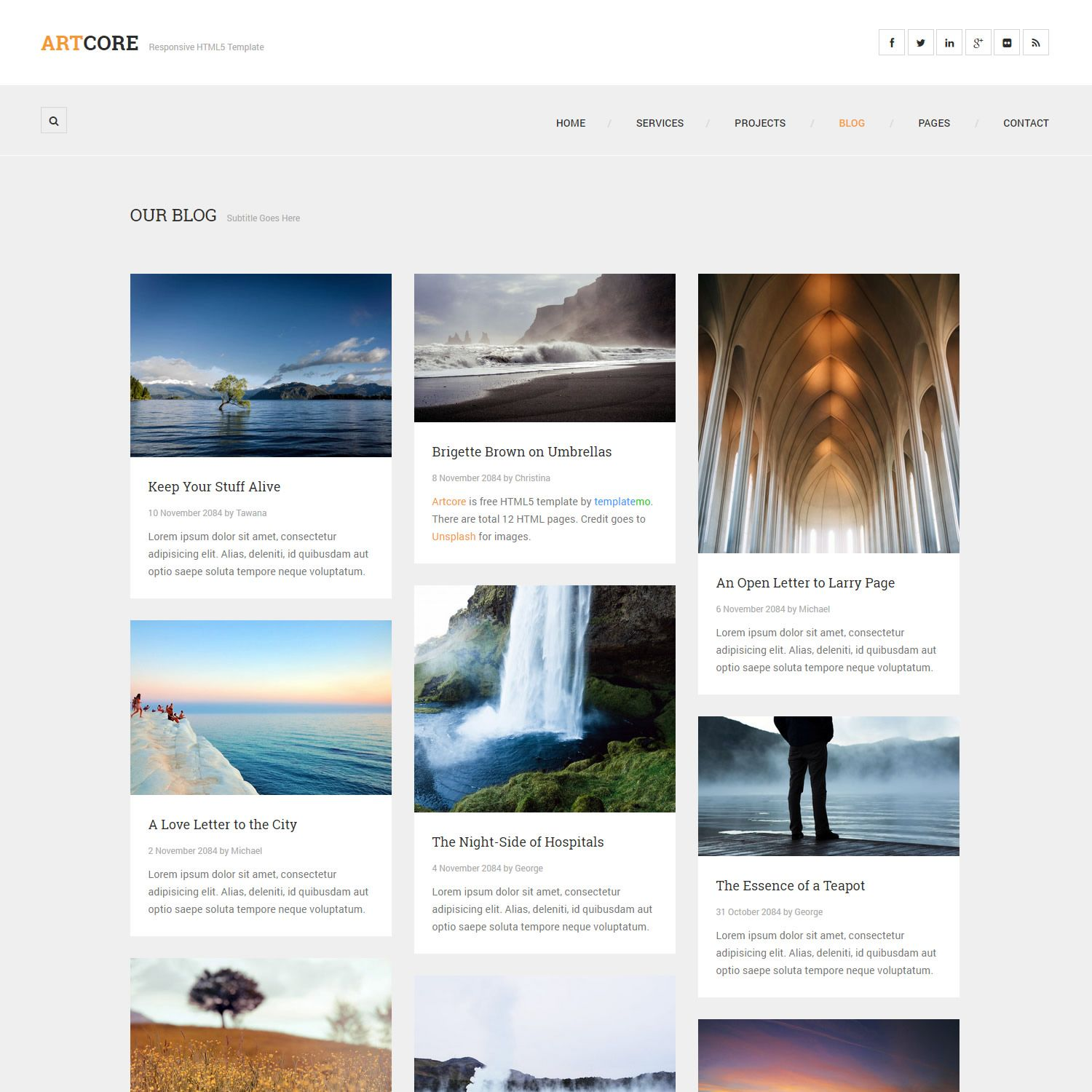 Artcore responsive HTML5 template includes total 12 pages ...