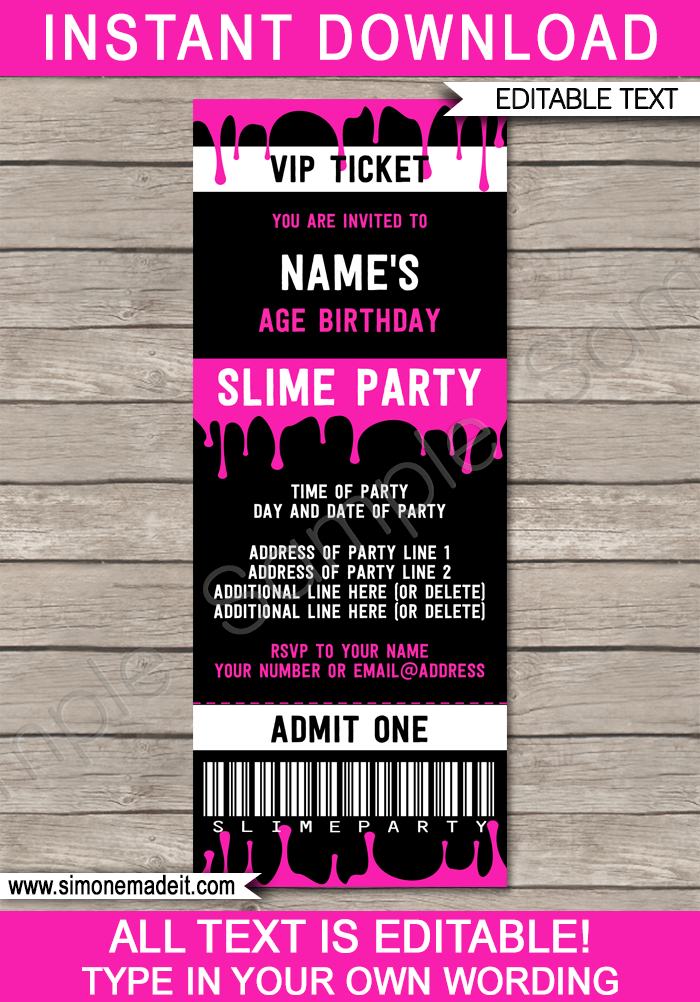 Slime Party Ticket Invitation Template Pink Invitation