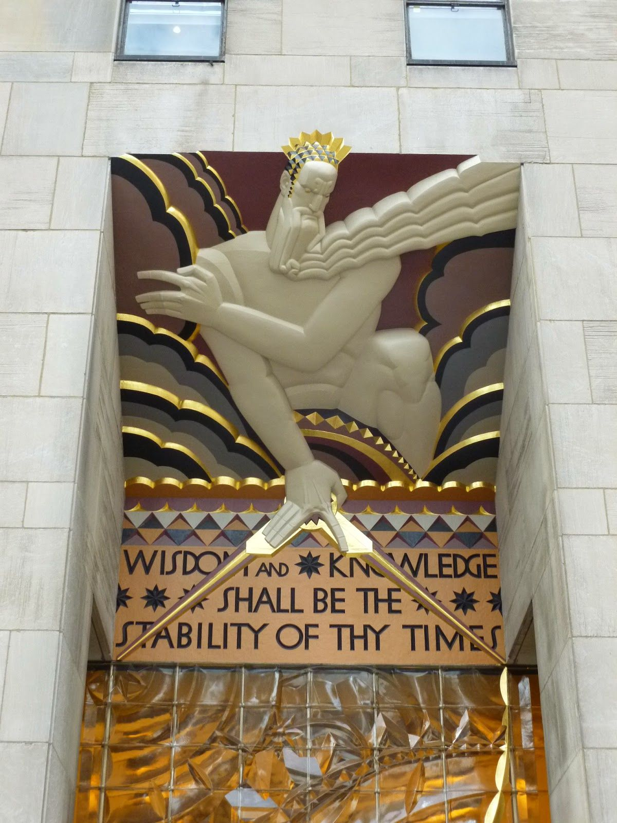 Art Deco Wisdom A Voice From The Clouds By Lee Oscar Lawrie 30 Rockefeller Plaza Ny Ny Art Deco Buildings Art Deco Architecture Art Deco Period