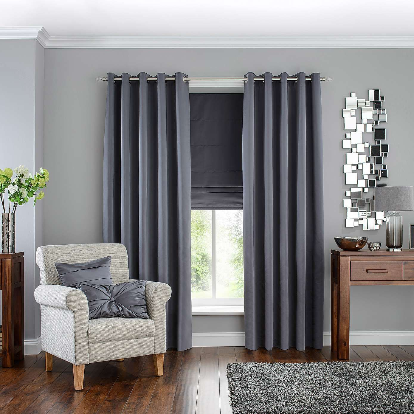Blackout curtains for bedroom - Hotel Grey Venice Blackout Eyelet Curtains Dunelm