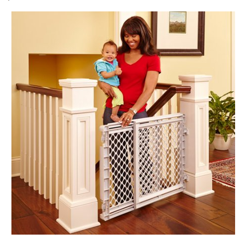 Baby Gate With Sliding Door Safety Kid Children Stairs Home Health  Staircase NEW