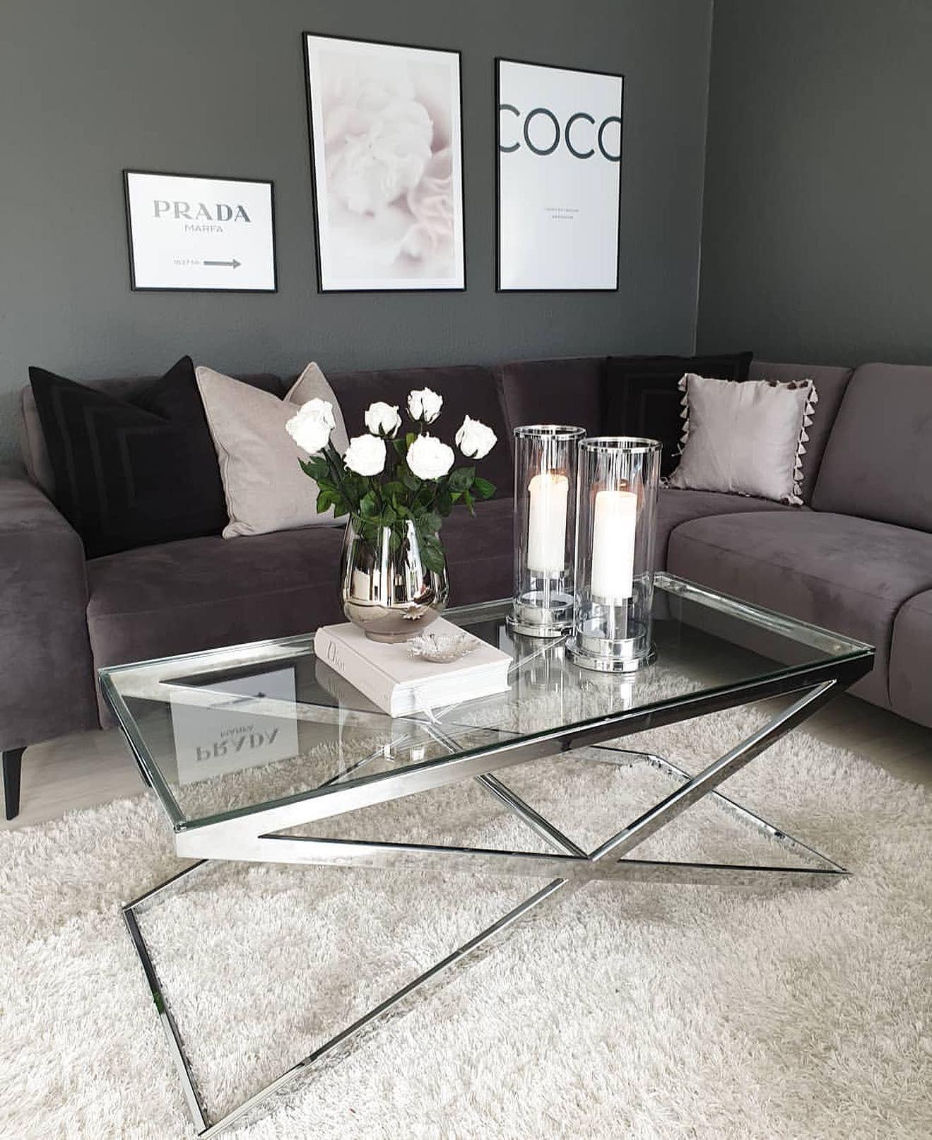 Anikka Chrome And Glass Coffee Table Coffee Table Living Room Coffee Table Glam Living Room [ 1613 x 1319 Pixel ]