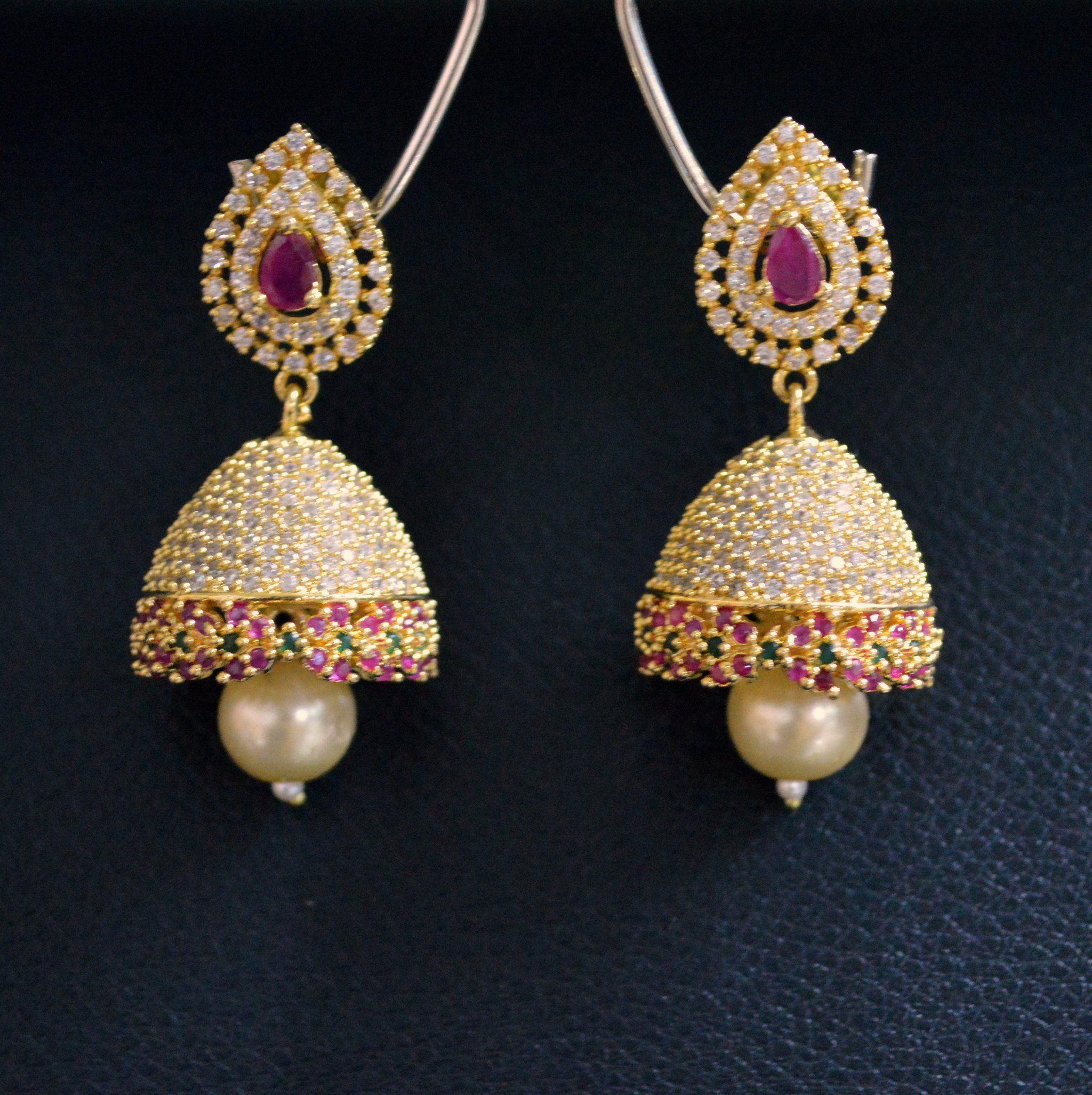 american diamond earrings nirmal zaveri tbz