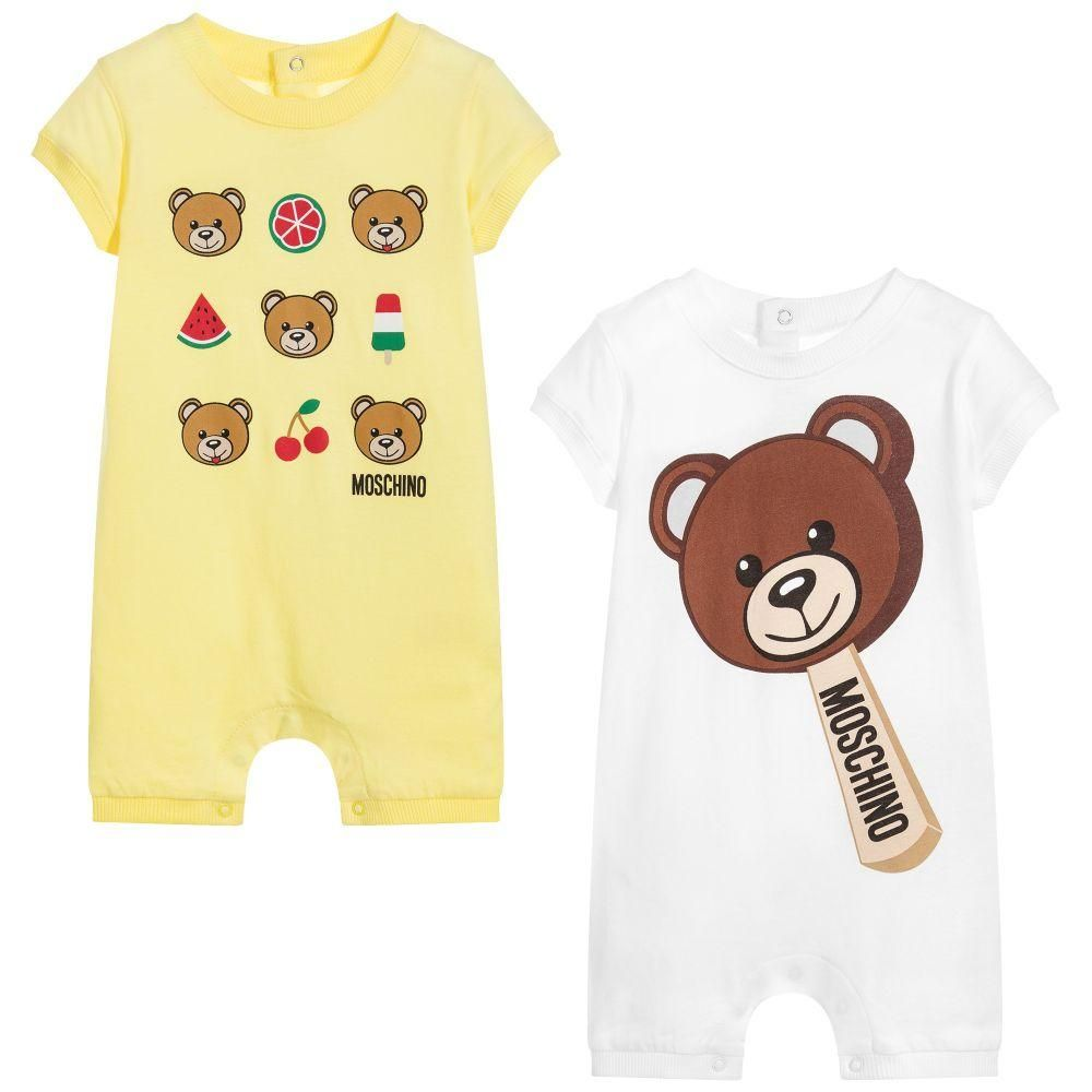 54ab6d9f0ef31 Moschino Baby Baby Cotton Shorties (2 Pack) Yellow White