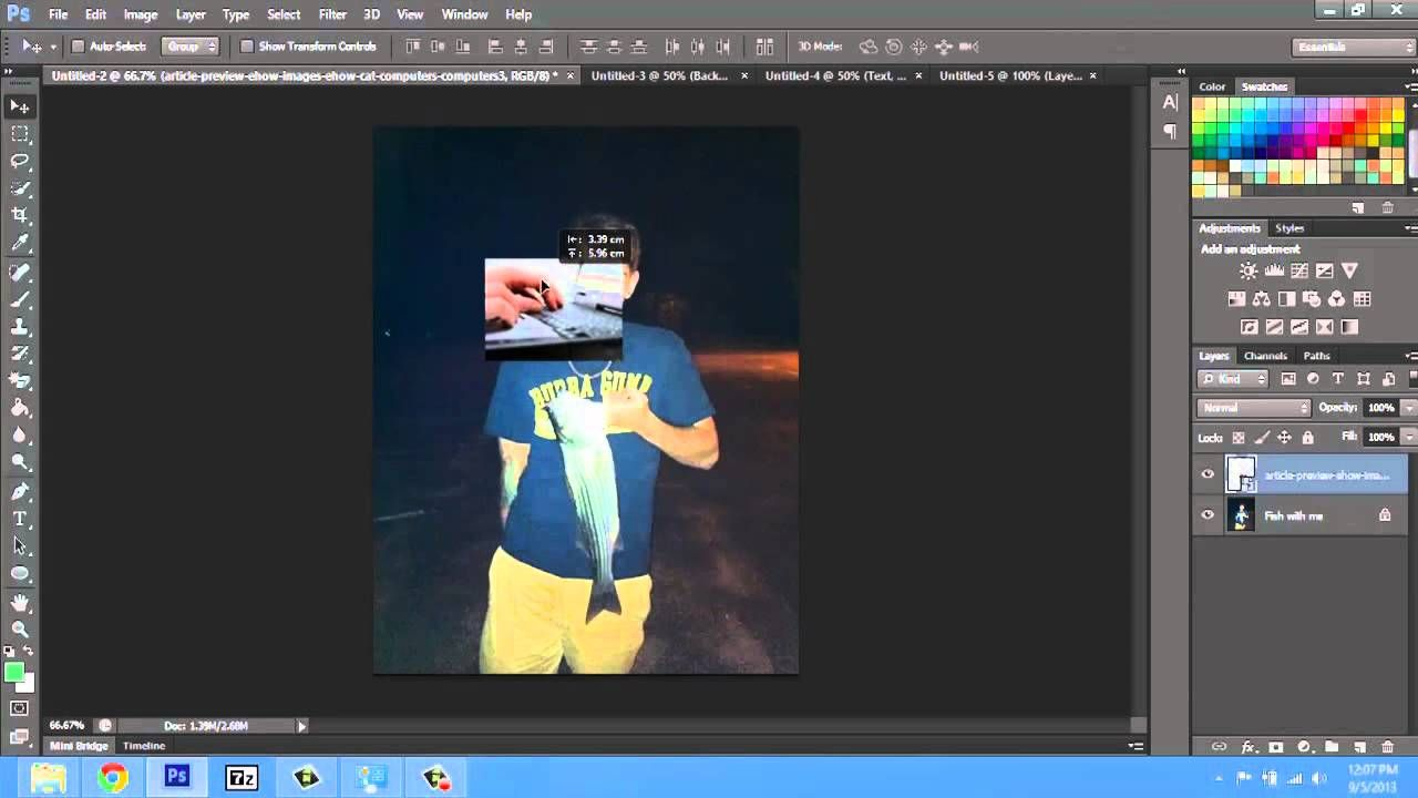 How to Add Many Pictures Into One in CS6 Using
