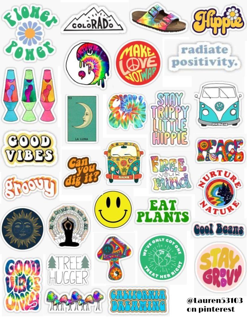 Hippie Sticker Pack Hippie Stickers Hippie Positivity 70s Earth