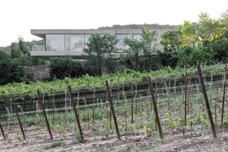 Sichtbeton Haus Das Casa Mf Mit Grossen Glasfenstern Und Modernem