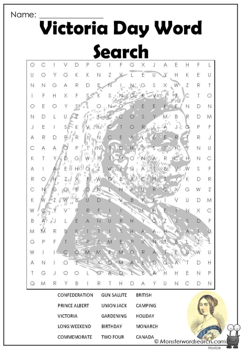 Victoria Day Word Search In