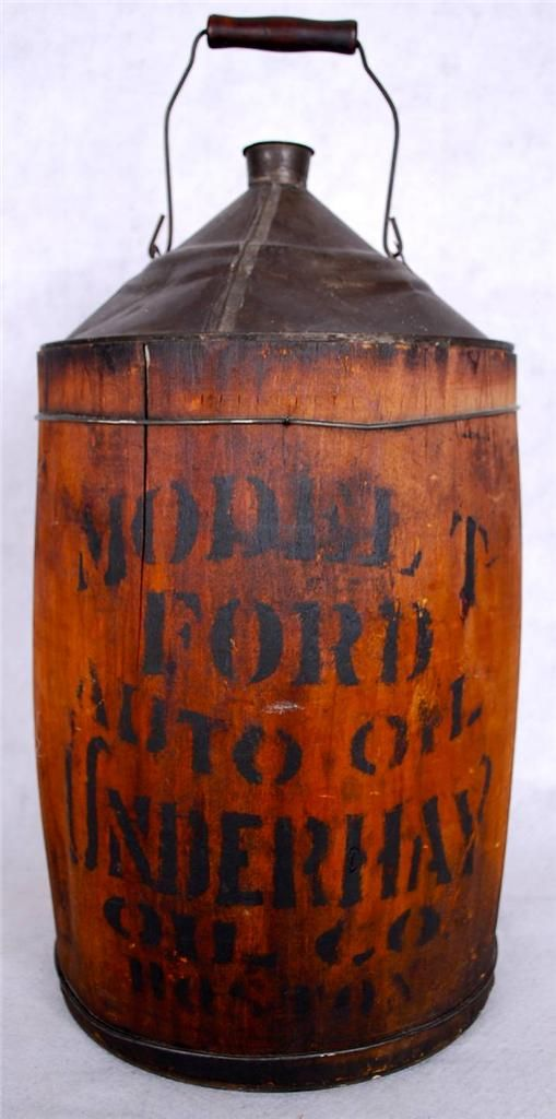 Antique Ford Model T Oil Can Wooden Wrap Over Tin Underhay Oil Co