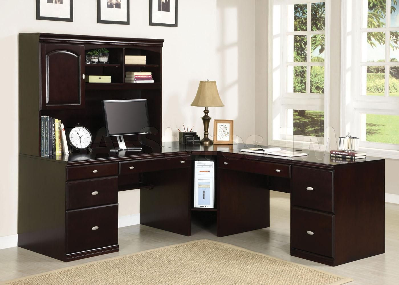 Home Office Desk Corner. Cape Office Set In Espresso (office Desk, Hutch,