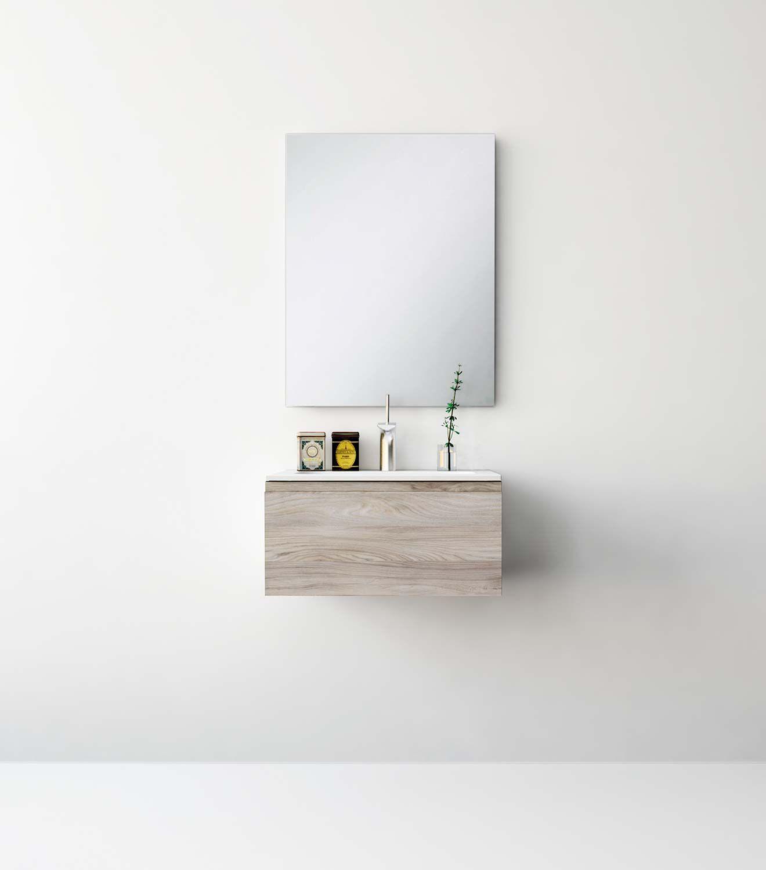 UNIBAÑO-Pack101-Baño Mueble de baño con encimera de 60cm y mueble portalavabo 1cajon. PVP Recomendado 545€