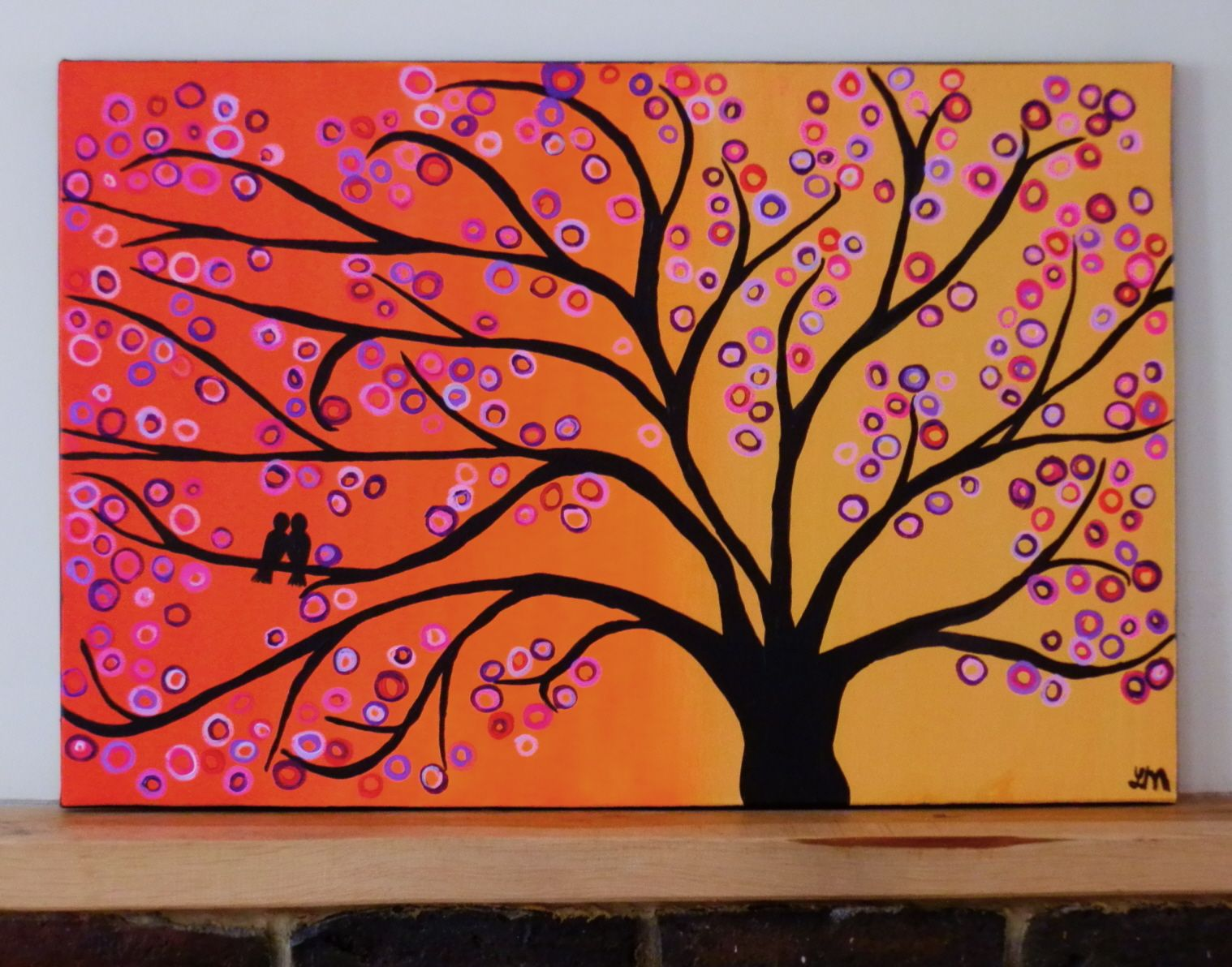 Love The Vibrant Colors Mixed With Sillouette Abstract Tree Painting Easy Canvas