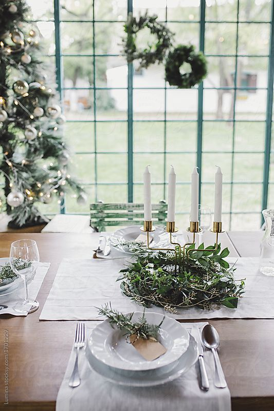 Dining table decorated for Christmas Eve dinner. | Table ...