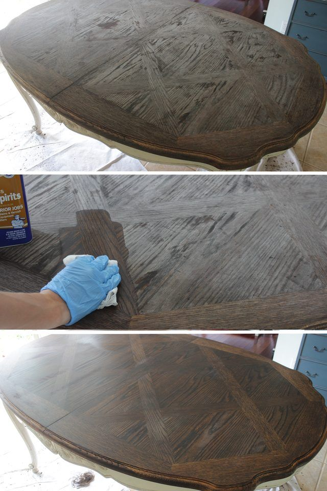 Tutorial on refinishing a wood veneer table top using paint and