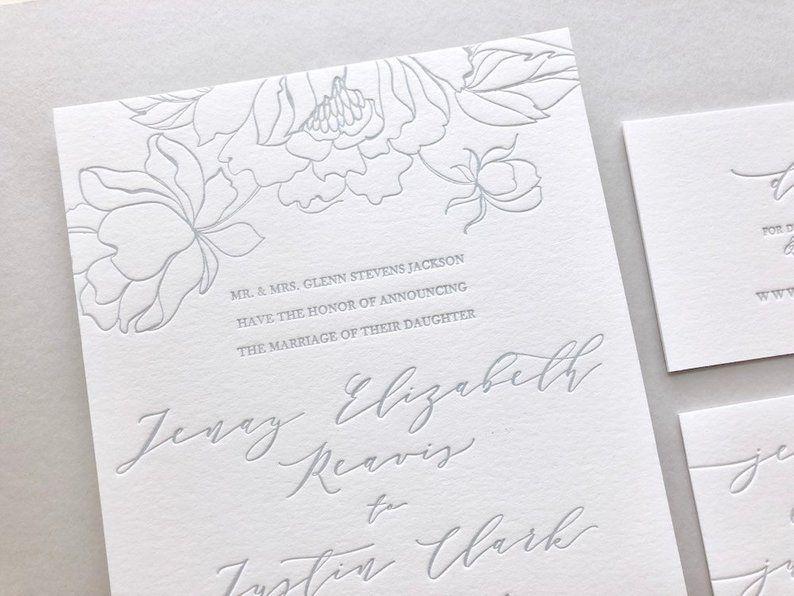 The Jenay Suite Sample Letterpress Wedding Invitations In