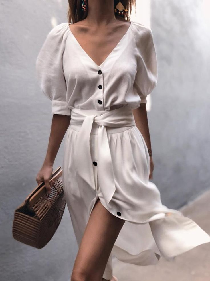 Puff Sleeve Button Through Belted Casual Dress - Fashion Able