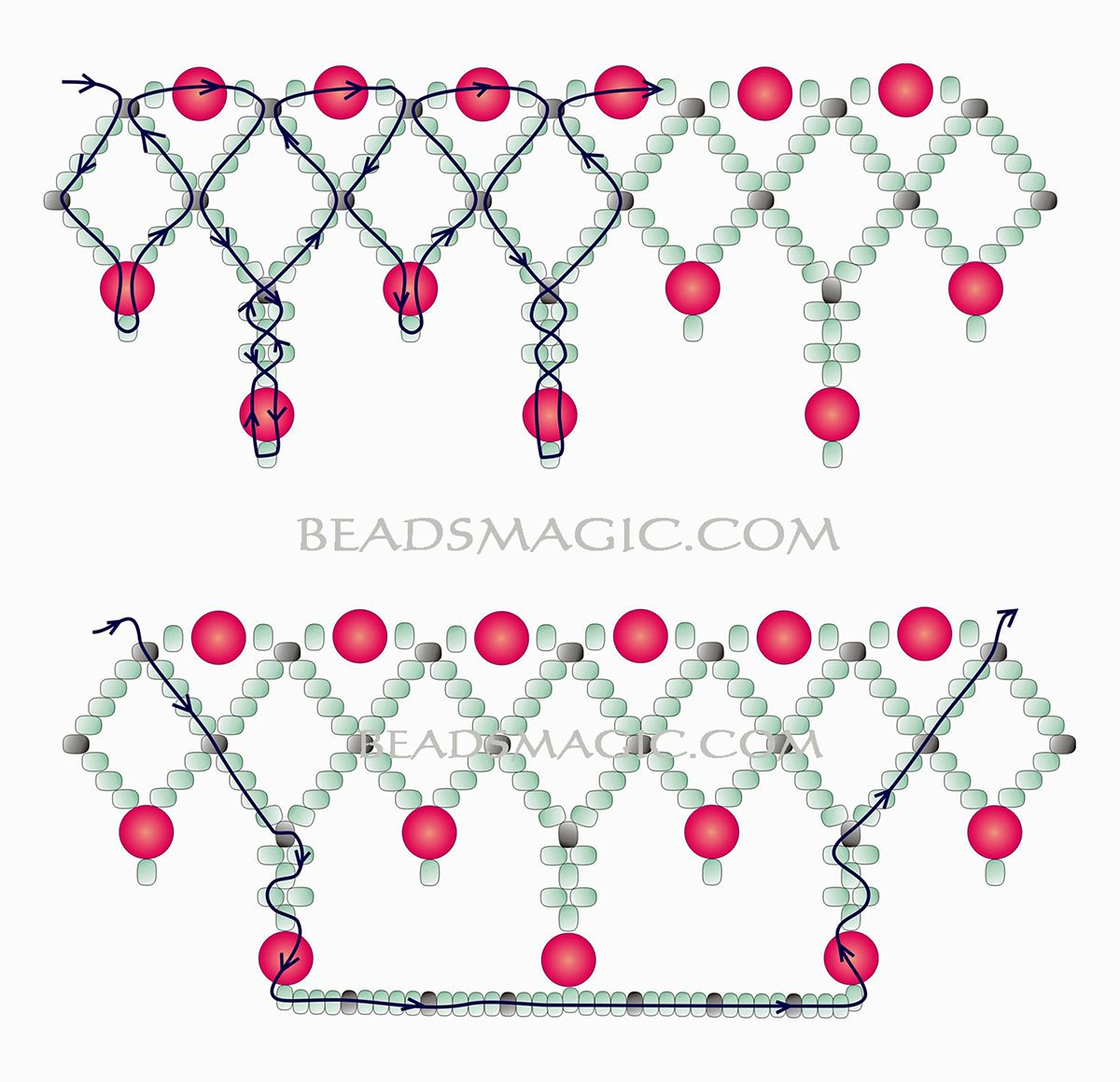 Free pattern for necklace Norma 2 u need Seed beads 110