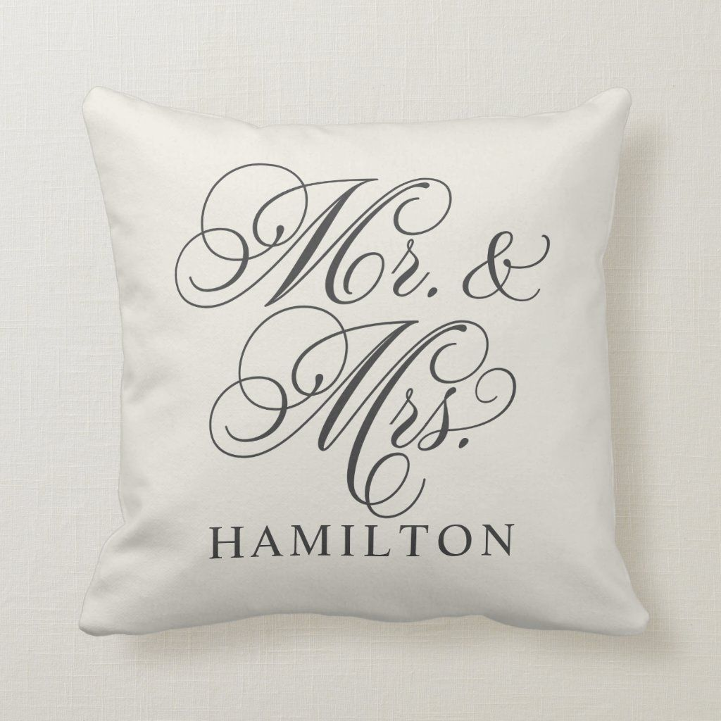 Mr. and Mrs. Script Married Monogram Soft Black Throw Pillow