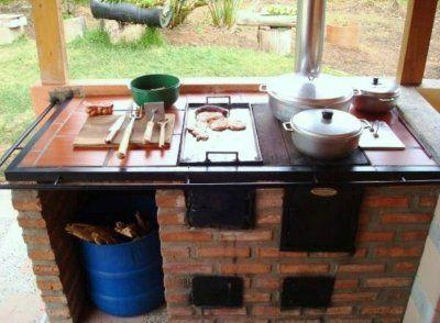 Resultado de imagen de cocinas de le a rusticas outdoor - Como hacer una cocina de lena ...
