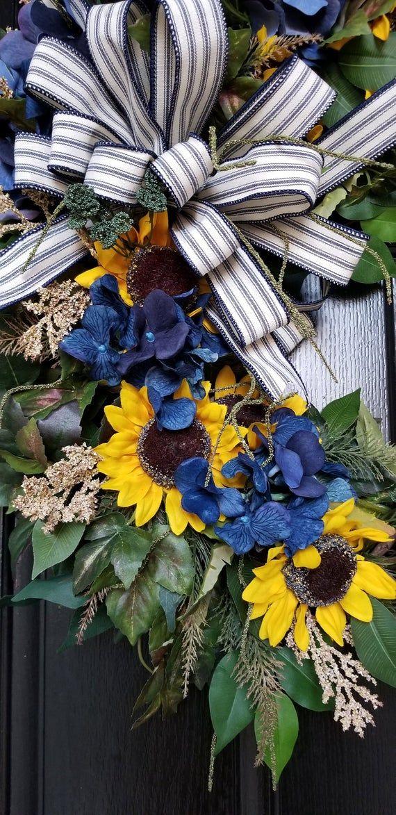 Photo of Autumn wreaths for front door, sunflower wreath, sunflower wreaths for front door, farmhouse autumn wreath, front door wreath, sunflower decor