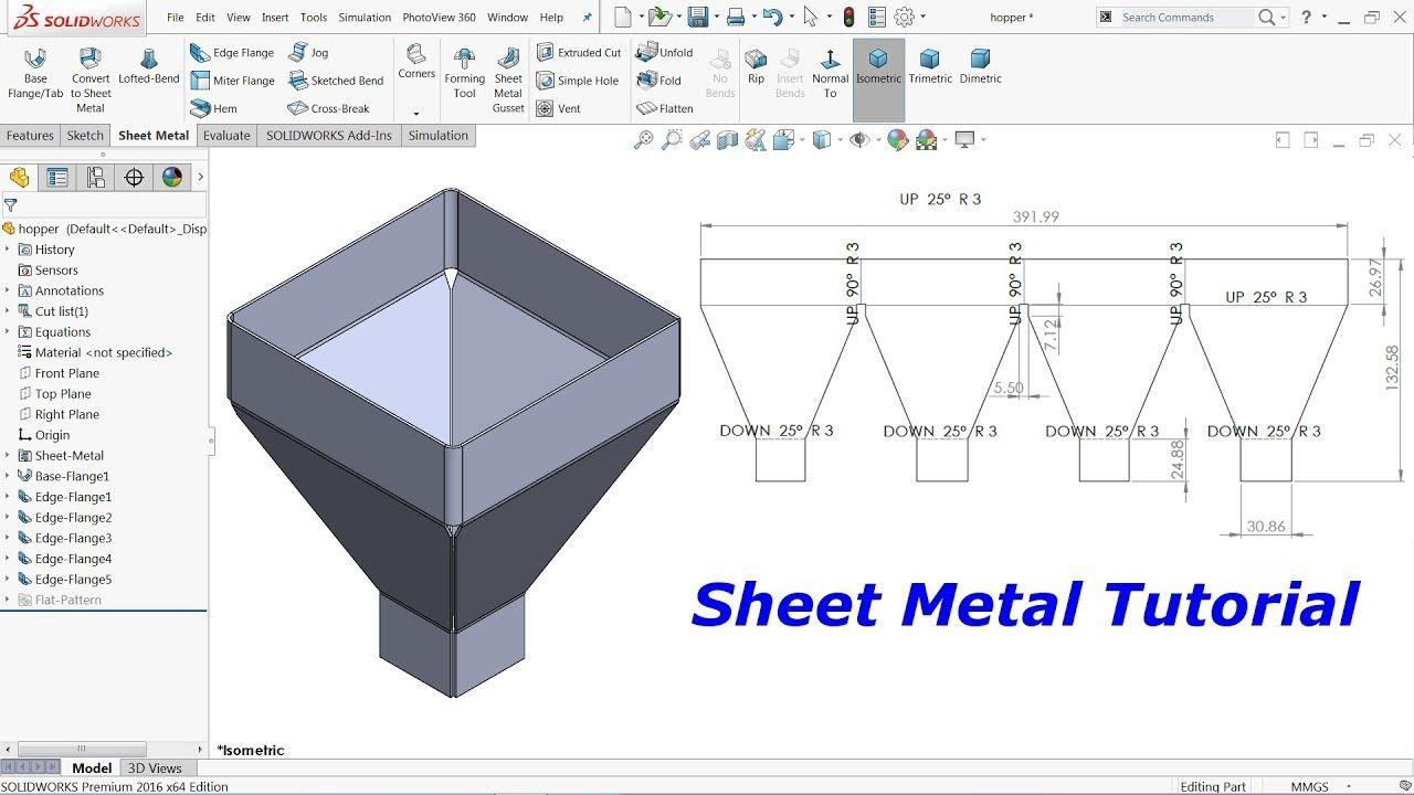 Solidworks Sheet Metal Tutorial Hopper Youtube Sheet Metal Solidworks Sheet Metal Art