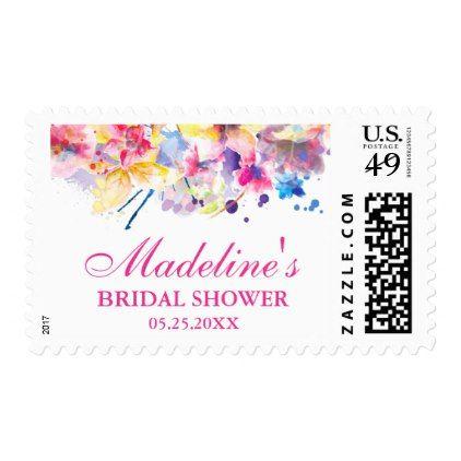 #Modern Watercolor Flowers Bridal Shower Pink Postage - #bridal #shower #gifts #wedding #bride