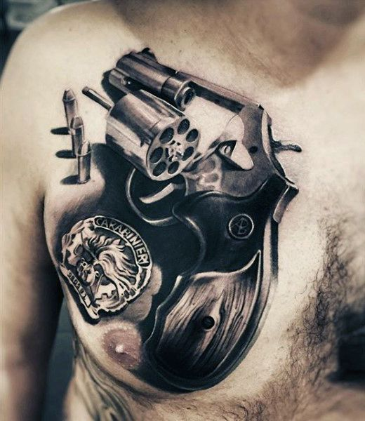 0b9e78055 80 Pistol Tattoos For Men - Manly Sidearm Designs | Tattoos For Men ...