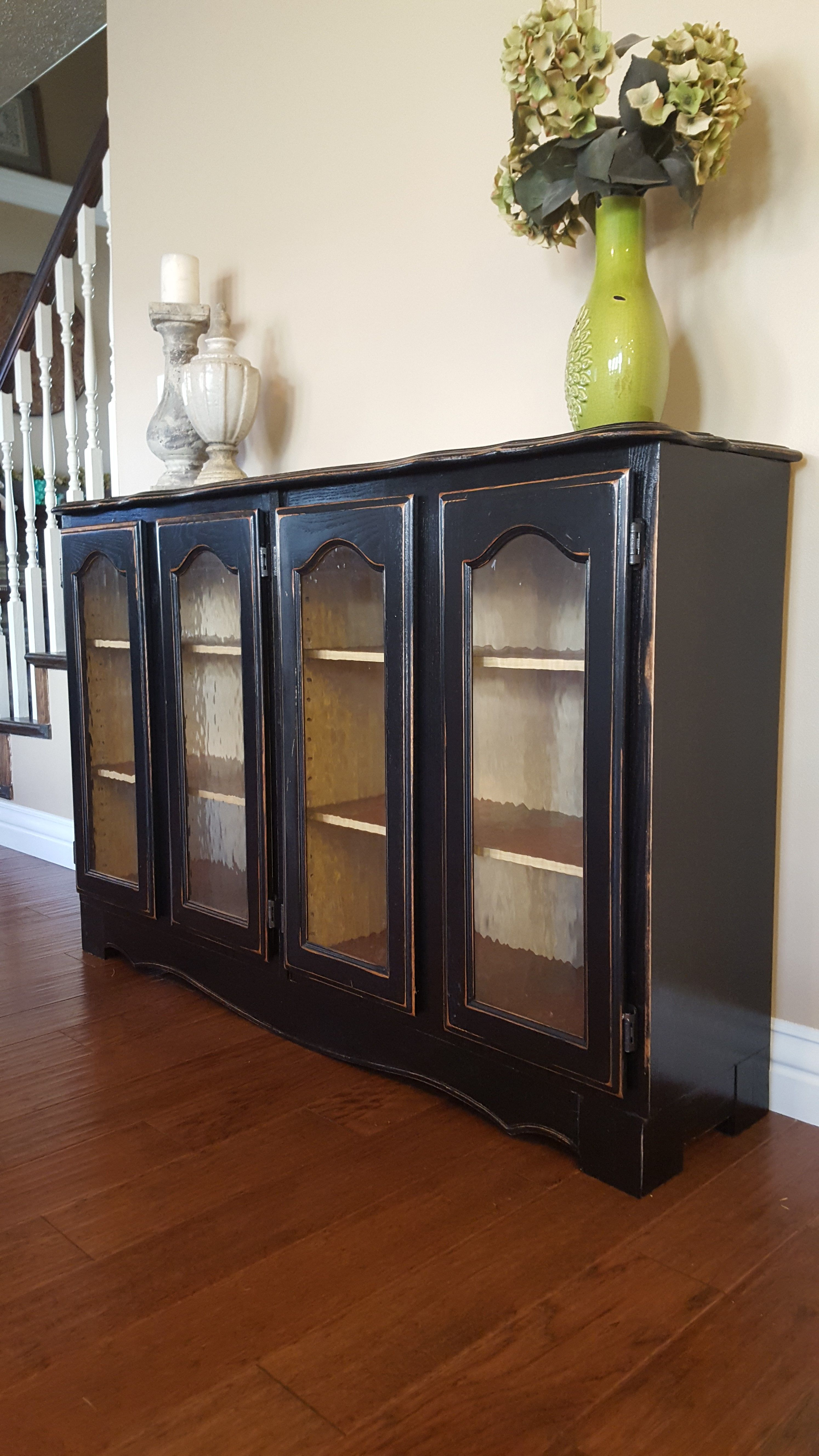 Up For Sale Is A Beautiful Cabinet Buffet Oak Wood Painted Black And Slightly Distressed Has 4