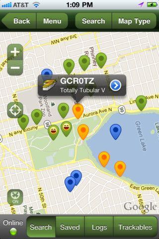 Geocaching iPhone and iPad app by Groundspeak Inc.. Genre