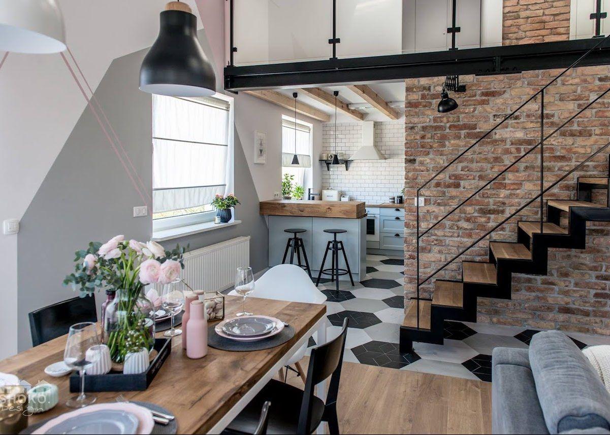 Loft scandinave et industriel cuisine ouverte stue for Cuisine ouverte loft