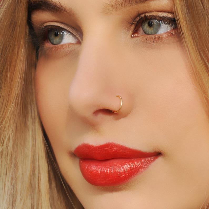 Nose Ring Nose Hoop 24 22 20 Gauge 14k Nose Ring Dainty Etsy In 2020 Fake Nose Rings Nose Piercing Hoop Cute Nose Piercings