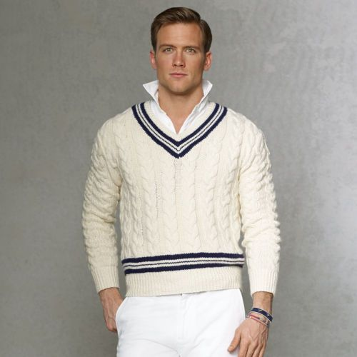 men 39 s natural cableknit cricket sweater polo ralph lauren cricket and polos. Black Bedroom Furniture Sets. Home Design Ideas