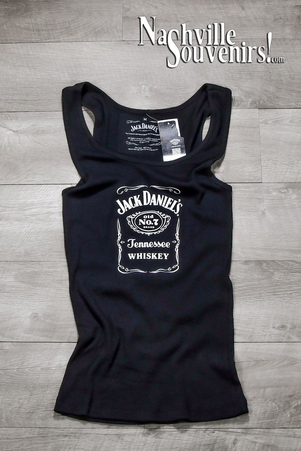 e19287a5c5b46 Officially licensed women s Jack Daniels Old No.7 Label Ribbed Juniors Tank  Top. Features a white print on the front of the tank.