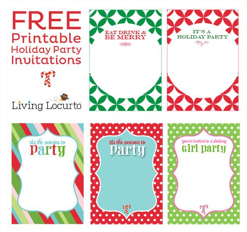 Free Printable DIY Holiday Party Invitations Holiday party