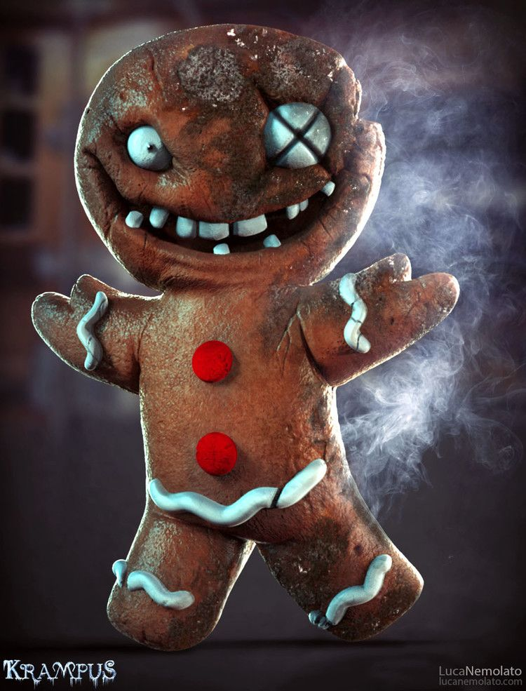 KRAMPUS Concept Art Shows Demonic Gingerbread Men, Evil