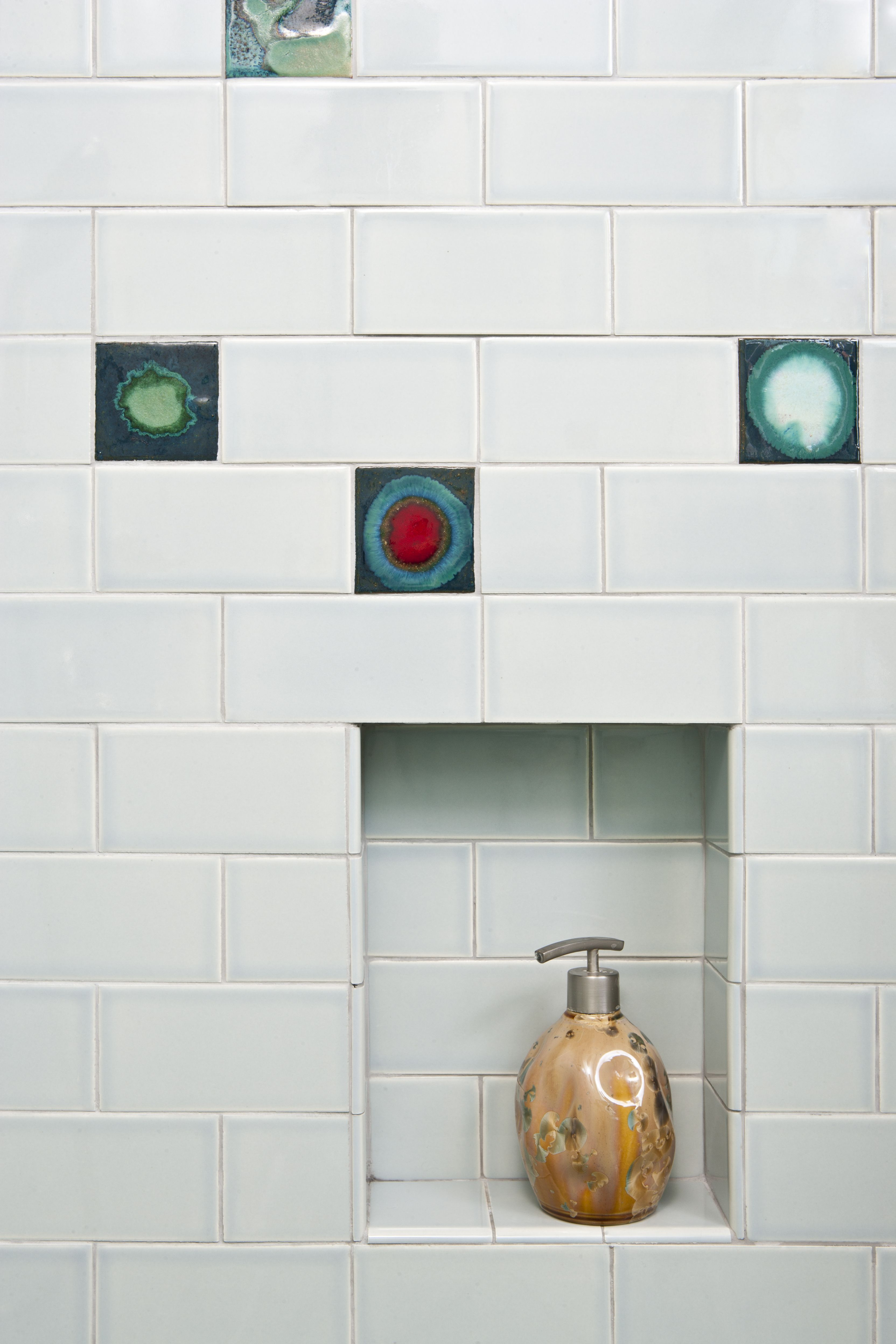 Built in shower niches are both very utilitarian and add clay squared to infinity store handmade tile custom terra cotta tile ceramic switch plates and more dailygadgetfo Image collections