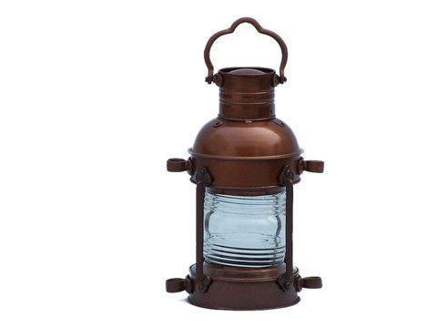 "Antique Copper Anchor Oil Lantern 15"""