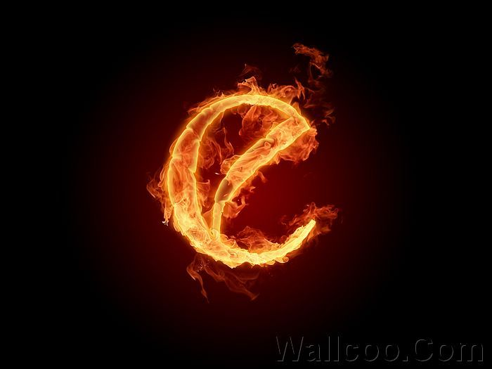 Realistic Fiery Letters and Numbers - Fiery Letter e - Fire Aphabets, Fire Letters A-Z