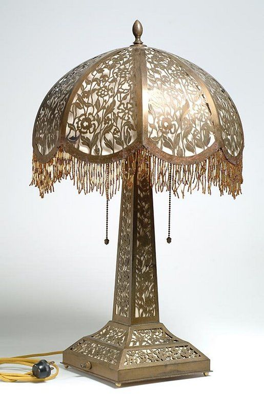 Victorian Brass Filigree Table Lamp Victorian Lamps Victorian Lighting Victorian Lampshades