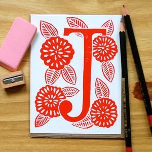 Beautiful Block Printed Designs Typography Love Letter J Cards