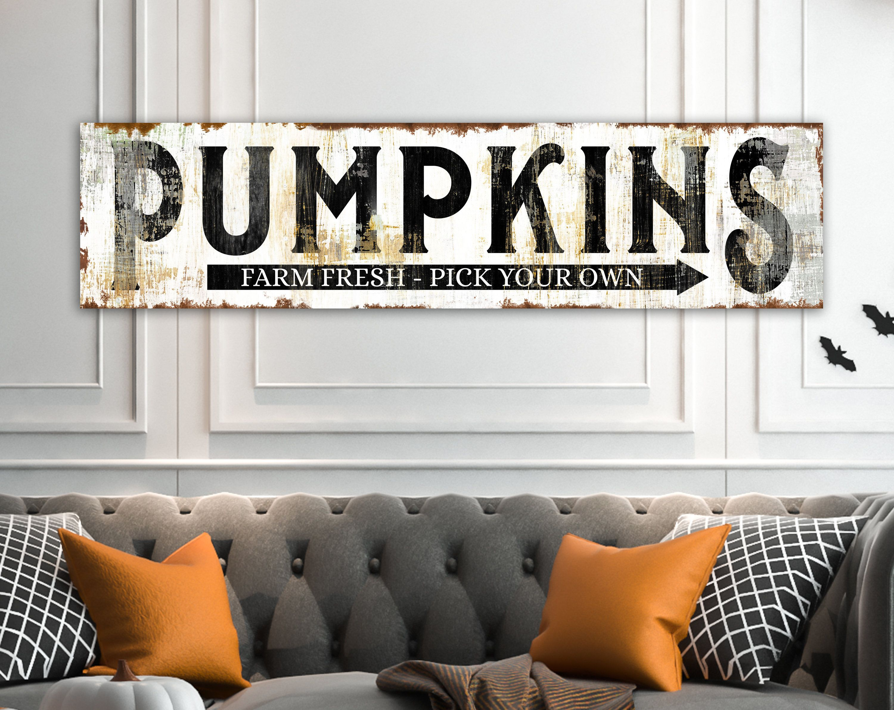 Fall Farmhouse Wall Decor Rustic Pumpkin Sign For Autumn Home