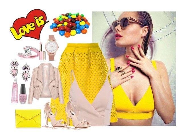 """""""yellow skirt"""" by biljanakljajic ❤ liked on Polyvore featuring Fendi, Zizzi, Rebecca Minkoff, Larsson & Jennings, Allurez, Erickson Beamon, Clarins, OPI and Givenchy"""