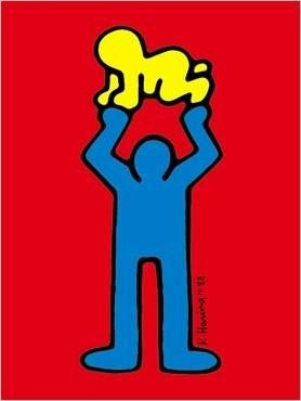 Blue Figure with Baby by Keith Haring #Illustration #Baby #Keith_Haring