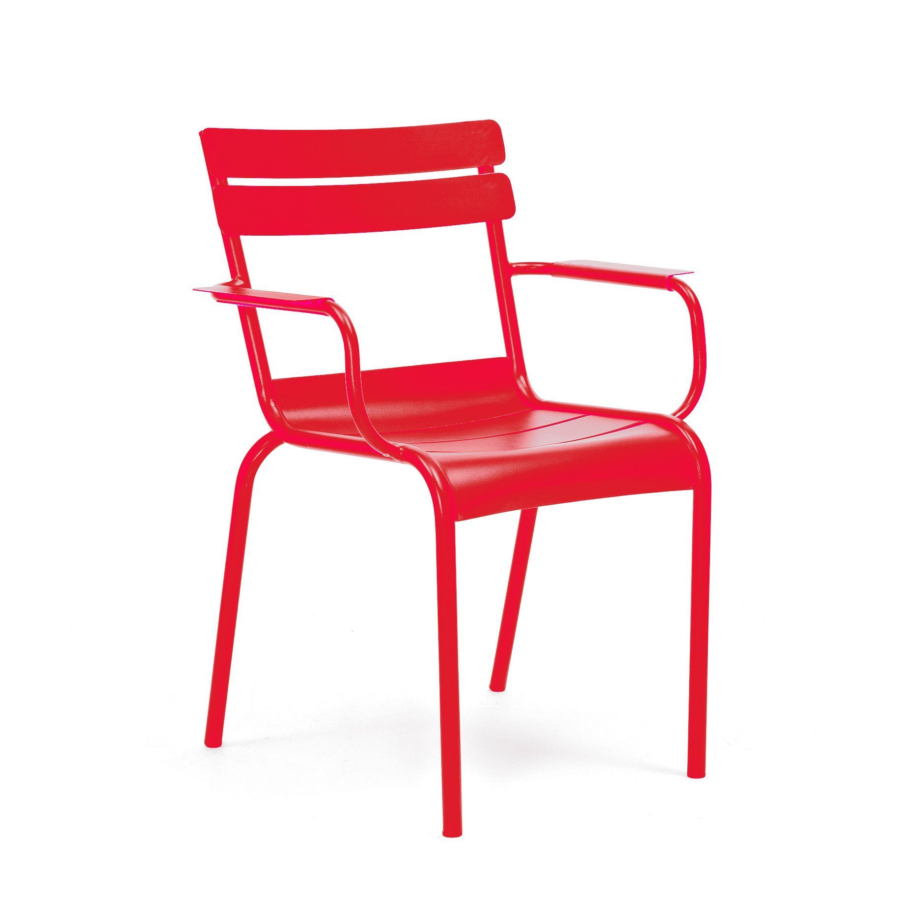 Chatou Red Stackable Metal Arm Chair Set of 4
